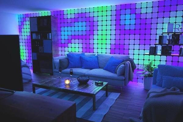 پوشش دیوار با نور های رنگی نانولیف